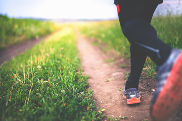 Jogging and running outdoors in nature