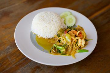 Thai basil prawn with rice