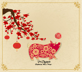 Happy chinese new year 2019 Zodiac sign with gold paper cut art and craft style on color Background (hieroglyph: Pig)