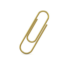 Gold clip on a white background. 3D illustration