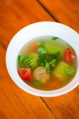 Thai pork stuffed cucumber soup