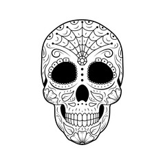 Black and white Day of The Dead Sugar Skull with detailed floral ornament. Mexican symbol calavera. Hand drawn line vector. Tattoo sketch with spiderweb, pattern, flowers and leaves