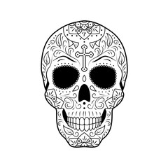 Black and white Day of The Dead Sugar Skull with detailed floral ornament. Mexican symbol calavera. Hand drawn line vector illustration. Sketch with cross, pattern, flowers and leaves.