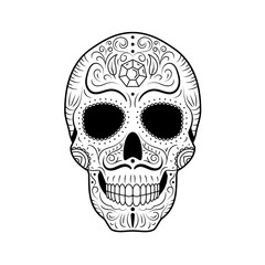 Black and white Day of The Dead Sugar Skull with detailed floral ornament. Mexican symbol calavera. Hand drawn line vector illustration. Man tattoo sketch with twisted eyebrows and mustache, pattern.