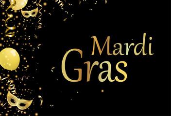 Black mardi gras background with gold masks.