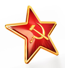 Communist symbols hammer and sickle on red star. 3D illustration