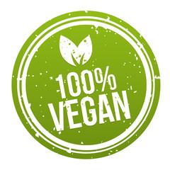 Wall Mural - Green 100% Vegan Badge Button. Eps10 Vector.