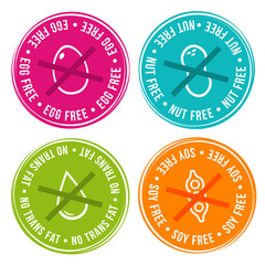 Wall Mural - Egg free, Nut free, Transfat free and Soy free Badges. Eps10 Vector.