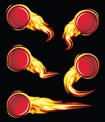 Cricket ball on the fire symbols speed set