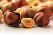 Hazelnuts and white background