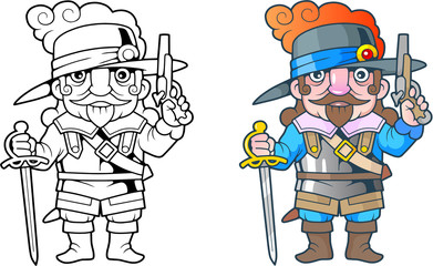 cartoon funny French soldier, illustration coloring book