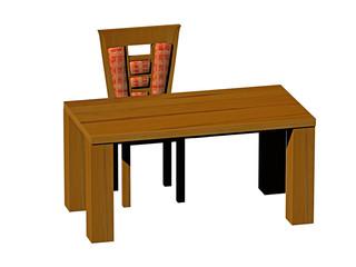 Tisch und Stuhl aus Holz