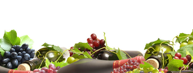 Grape wine on a white background Fototapete