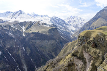 View of the mountains of the Greater Caucasus, Georgia. This is the main chain of the Caucasus mountains.