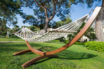 Printed kitchen splashbacks Chicken Beautiful hammock near house in summer, Turkey