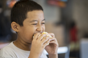 Cute little boy eating a cheeseburger