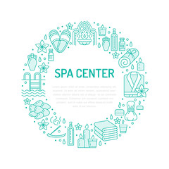 Spa center blue banner illustration with flat line icons. Essential oils, aromatherapy massage, turkish steam bath hamam sauna, swimming pool. Circle template thin linear signs body treatments.