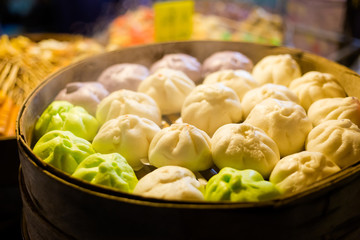 Thai steamed dimsum buns selection