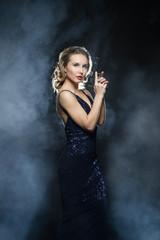 Sexy gangster girl with handgun