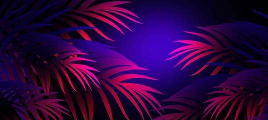 Neon background with tropical leaves