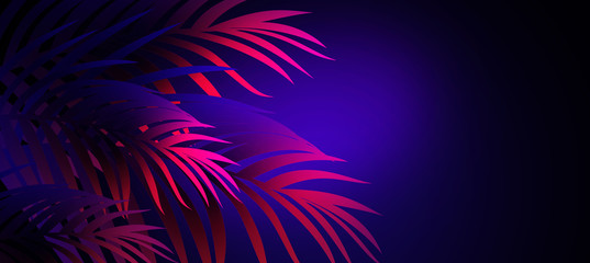 Neon background with tropical leaves Wall mural