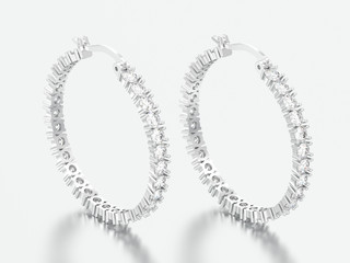 3D illustration white gold or silver decorative diamond earrings with hinged lock