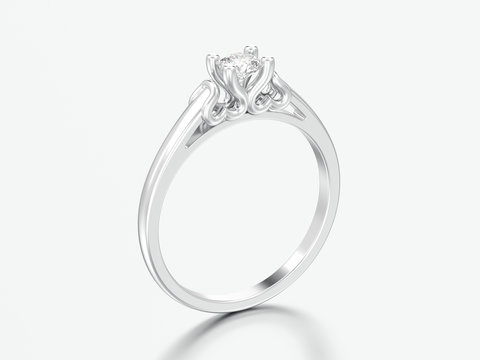 3D illustration white gold or silver solitaire wedding diamond ring with heart prongs