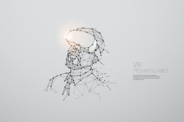 The particles, geometric art, line and dot of VR technology