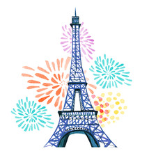 Bastille day. 14th of  July. La Fete Nationale. French National day greeting card and poster design. Hand drawn watercolor illustration with Eiffel tower and fireworks