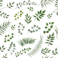 pattern of green leaves on a white background, watercolor style.