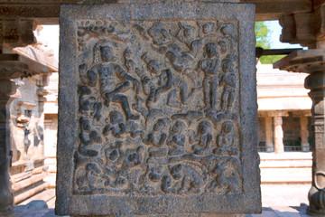 Rati the queen of Kama offering garland to Siva, Inner pillars, agra-mandapa, Airavatesvara Temple, Darasuram, Tamil Nadu