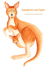 Kangaroo and the kid watercolor. An illustration on a white background for Mother's Day.