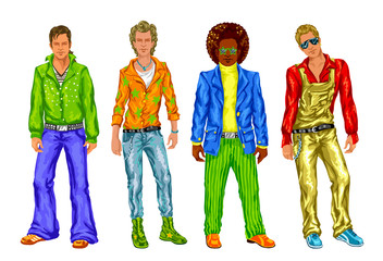 Group of fashionable guys in the style of disco on a white background