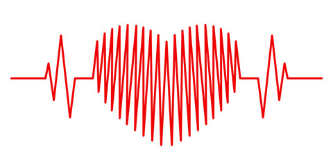 Cardiogram in the form of a red heart on a white background