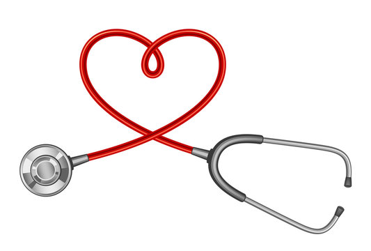 Stethoscope with a twisted cord in the shape of a heart on a white background