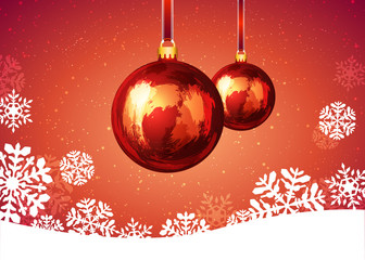Christmas ball with snowflakes on red background.