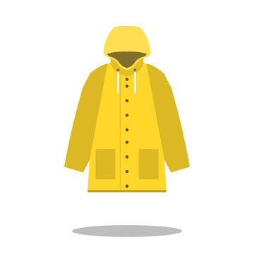 Raincoat yellow icon, Flat design of rain coat clothing with round shadow, vector illustration