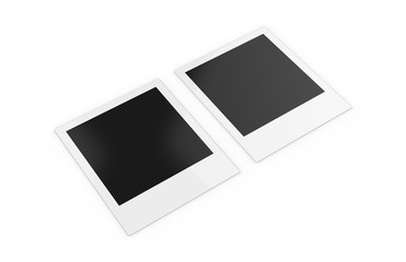 Photo frame placed on white background, template photo design., 3d illustration