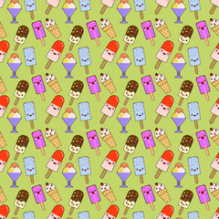 Ice cream cones, pattern seamless, color of different, doodle emotion. Smiling and angry. Love and surprise. Dessert handmade. Vector illustration