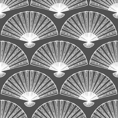 Dark Fan Seamless Pattern in Hand-Drawn Style