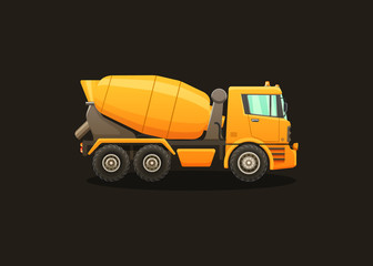 Detailed vector illustration of concrete mixer.