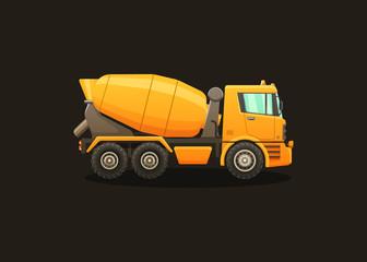 Detailed vector illustration of concrete mixer.