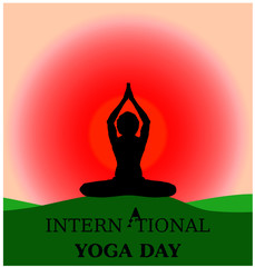 Yoga day beautiful background banner parvastasna on green ground morning sunrise silhouette