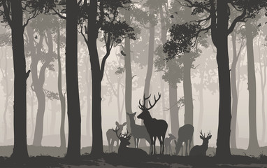 Wall Mural - Natural background with the silhouette of a forest with a herd of deer. Seamless horizontal background. Vector illustration
