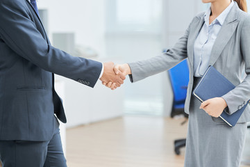 Business colleagues shaking hands while standing at office