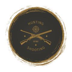 Grunge hunt club logo with rifle