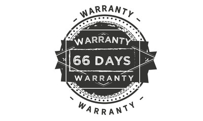 66 days warranty icon vintage rubber stamp guarantee