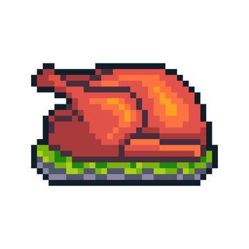 Pixel art baked turkey isolated on white background.