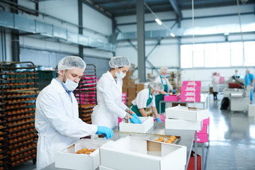 Confectionery factory workers in white coats collecting freshly baked pastry into paper boxes.