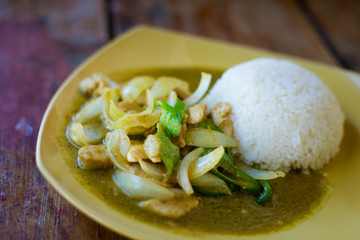 Thai green curry chicken Kradan